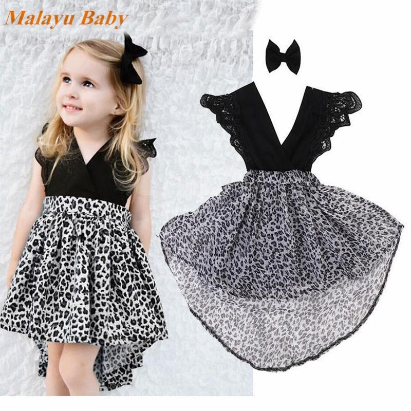 Leopard Bowknot Girl Mesh Dress Casual Summer Dresses Children Wear Kids Clothes