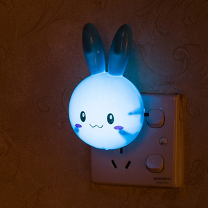 AC110-220V Led Night Lamp Plug Light Children Cartoon Rabbit Switch Wall Night Lampara On Off Button For Baby Sleeping Room