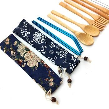 Portable Eco Friendly Flatware Set 7PCS Bamboo Cutlery Set Knife Fork Spoon Reusable Straws Chopsticks Bamboo Travel Utensils portable bamboo korean cutlery set wooden tableware knife fork spoon set with eco friendly bamboo straw for travel cutlery set