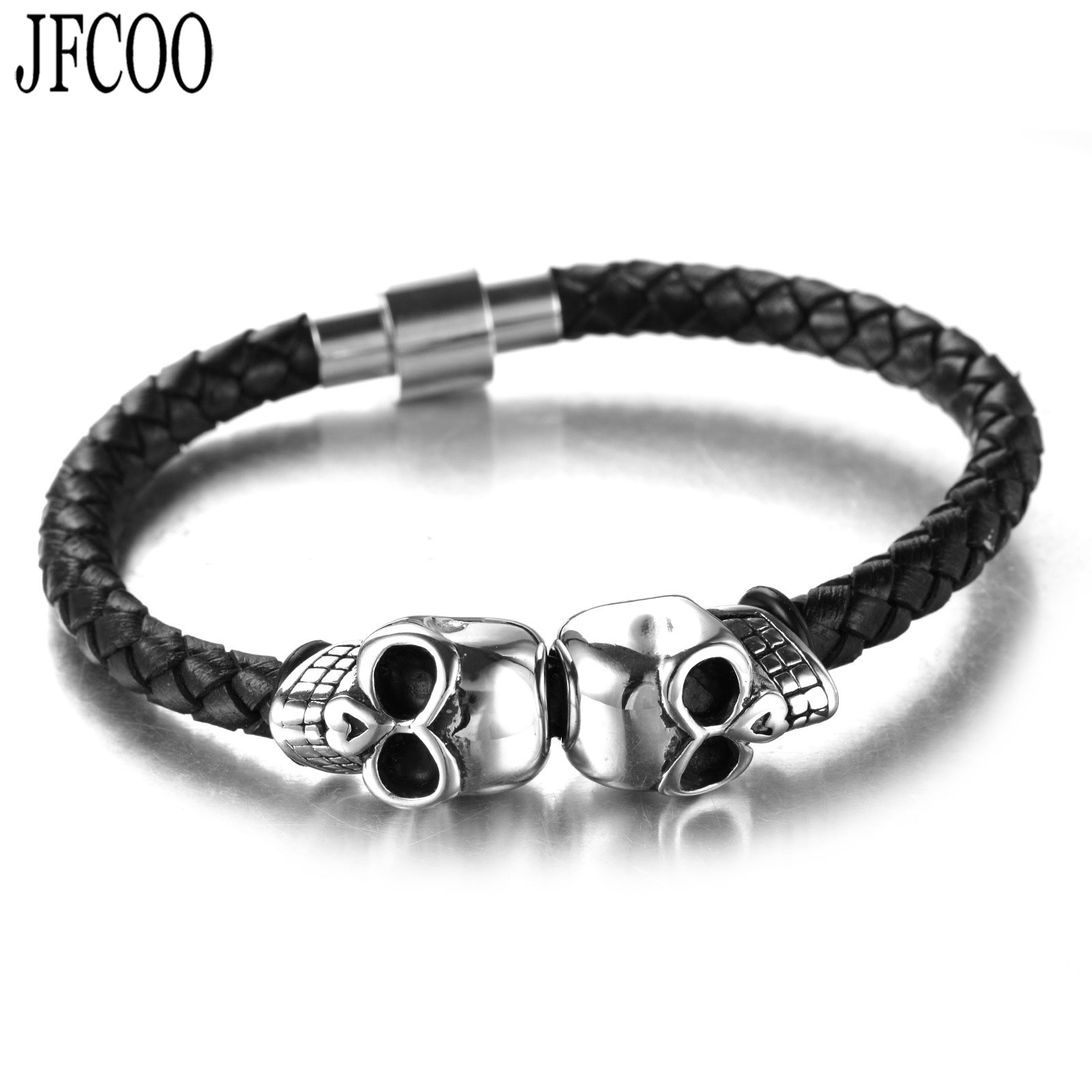 Europe Stainless Steel Charm Double Skulls men Bracelets Genuine Leather Rope Magnetic clasp bracelet Dropshipping