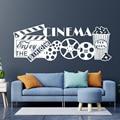 Домашний кинотеатр, Декор, виниловая настенная наклейка для домашнего кинотеатра, наслаждайтесь шоу, цитаты, Переводные картинки, водонепр...