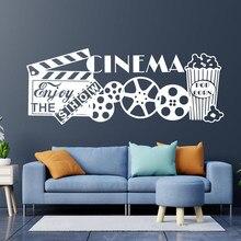 Sala de teatro decoração casa cinema vinil adesivo arte da parede desfrutar da mostra citações decalque murais à prova dwaterproof água 2225