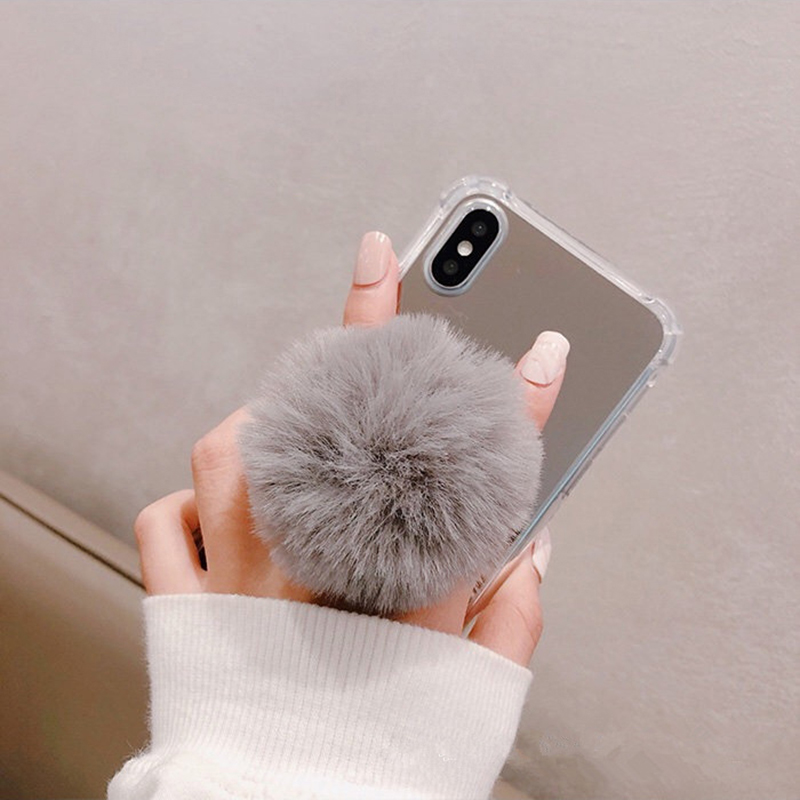 Cute Plush Ball Mobile Phone Ring Bracket Colorful Cell Phone Holder Stand Bracket For Iphone Huawei Durable Portable