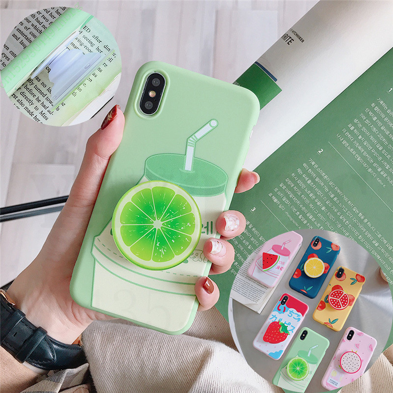 Phone <font><b>Case</b></font> On For <font><b>iPhone</b></font> 11 Pro <font><b>XS</b></font> Max SE 2020 Bracket Cartoon Fruit Silicone <font><b>Case</b></font> For <font><b>iPhone</b></font> 11 <font><b>X</b></font> <font><b>XS</b></font> XR 6 6S 7 8 Plus Back <font><b>Case</b></font> image