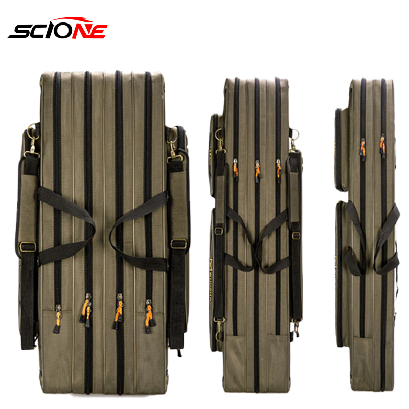 80cm 110cm 120cm Thick Oxford Fishing Bags Foldable Fishing Rod Fishing Pole Tools Storage Bag Large Capacity Pesca Bag XA114G