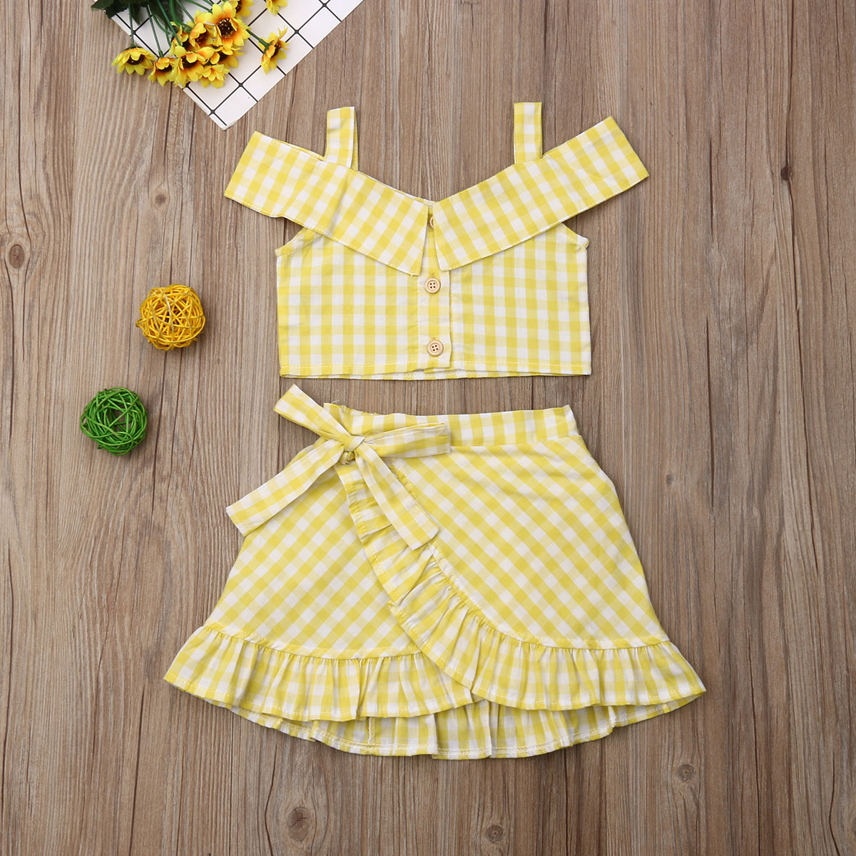 Emmababy Summer Toddler Baby Girl Clothes Plaid Strap Crop Tops Ruffle Mini Skirt 2Pcs Outfits Clothes Summer