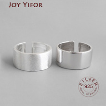 925 Sterling Silver Chic style Open Ring For Women Big Smooth Wide Face Rings for Women Punk Style Bijoux Femme