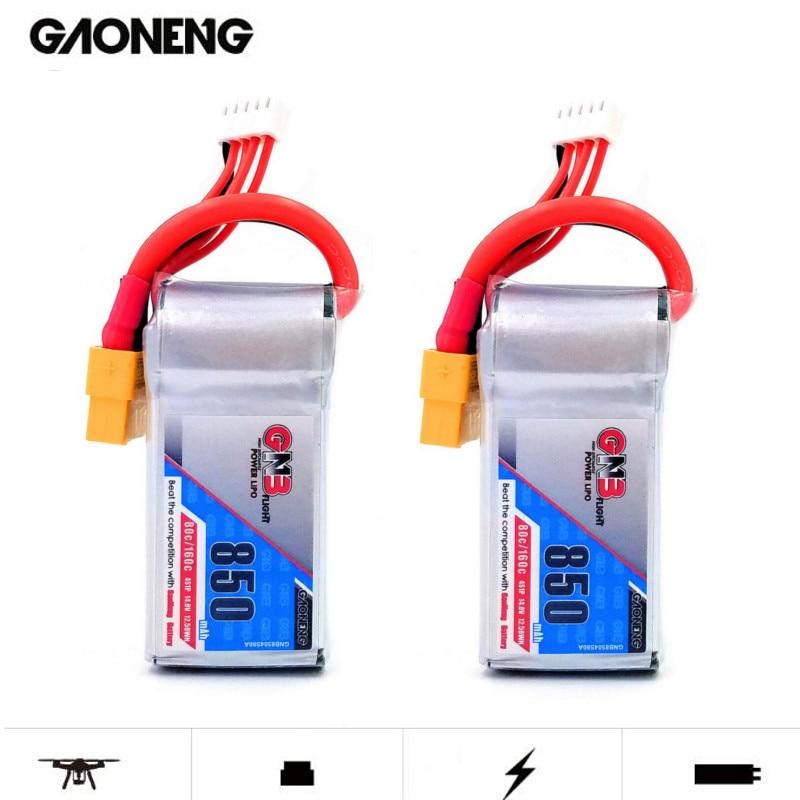 2PCS Gaoneng GNB 14.8V 850mAh 4s 80C/160C Lipo Battery XT60 XT30 For Micro Brushless FPV Racing BetaFPV Drone Quadcopter