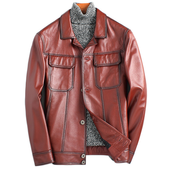 Genuine Cow Leather Men's Jacket