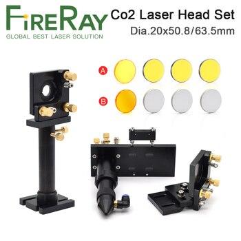 FireRay CO2 Laser Head Set Kit 1Pcs Dia.20mm ZnSe Focus Lens 3Pcs Dia.25m Mo Si Mirror 25mm for Engraving Cutting Machine