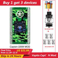 Oryginalny Vaptio Capt'N 220W TC box mod e-papieros nr 18650 bateria do parownika box mod kompatybilny 510 Pin atomizer bezpłatny prezent podzbiornik