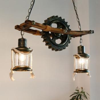 Amerikaanse Houten  Industrieel plafondlamp 1