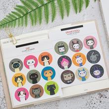 18pcs/pack Cartoon cat Illust Sticker Notebook Label DIY Paper Sticker  Scrapbooking Stationery