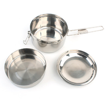 Mountaineering set pot outdoor picnic stainless steel bento pot non-stick pan camping cooking pot picnic cookware