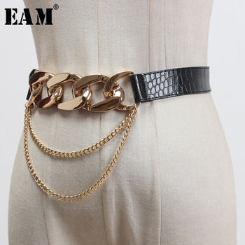 [EAM] Metal Chains Buckle Long Tassel Split Joint Pu Leather Belt Personality Women New Fashion Tide All-match Spring 2020 1U275