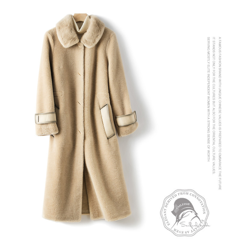Winter Coat Women Clothes 2020 Korean Real Fur Coat + Mink Fur Collar Elegant Long Jacket Vintage Ladies Overcoat XM8585