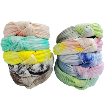 Women Retro Tie Dye Knot Hairband Striped Knitting Bow Headband Handmade  Wide Cotton Hair Hoop Bohemian Turban Hair Accessories knot front striped dress