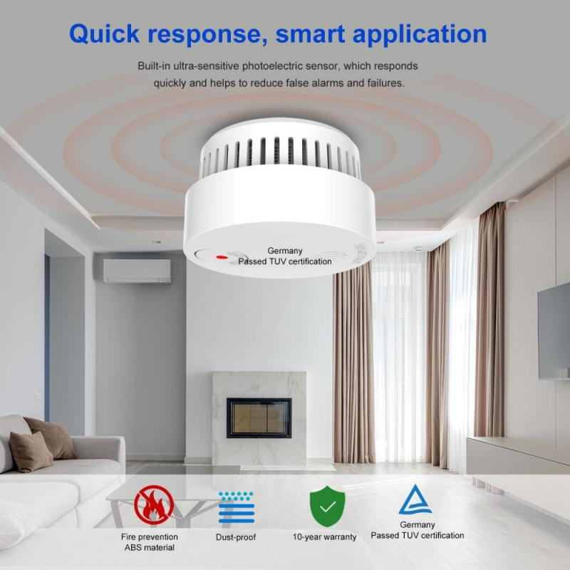 Home Security Protection High Sensitive Built-in Lithium Battery 10 Years Of Use Newest  Smoke Alarm Detector Voice Warn Sensor