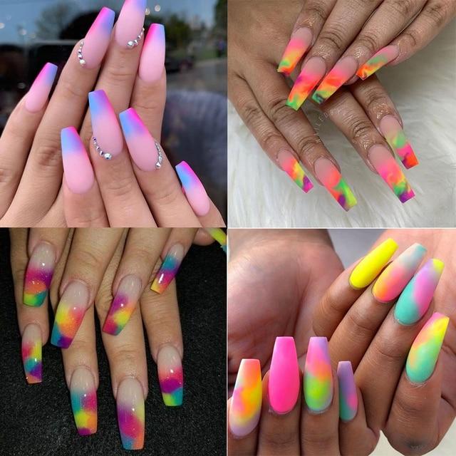 Neon Pigment Powder Fluorescent Nail Glitter Set Shinny Ombre Chrome Dust DIY Gel Polish Manicure For Nails Art Decoration 3