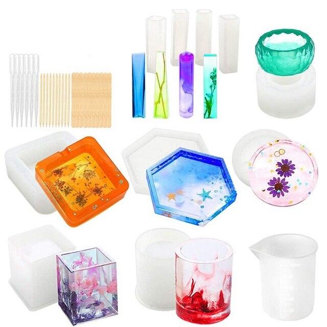 Moldes de silicona para Resina epoxi, moldes artísticos de fundición de resina para Diy, jabonera, portavelas, Cenicero, maceta, posavasos, colgante C
