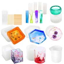 Silicone Molds for Resin Epoxy Resin Casting Art Molds for Diy Cup Pen Soap Candle Holder Ashtray Flower Pot Coaster Pendant C