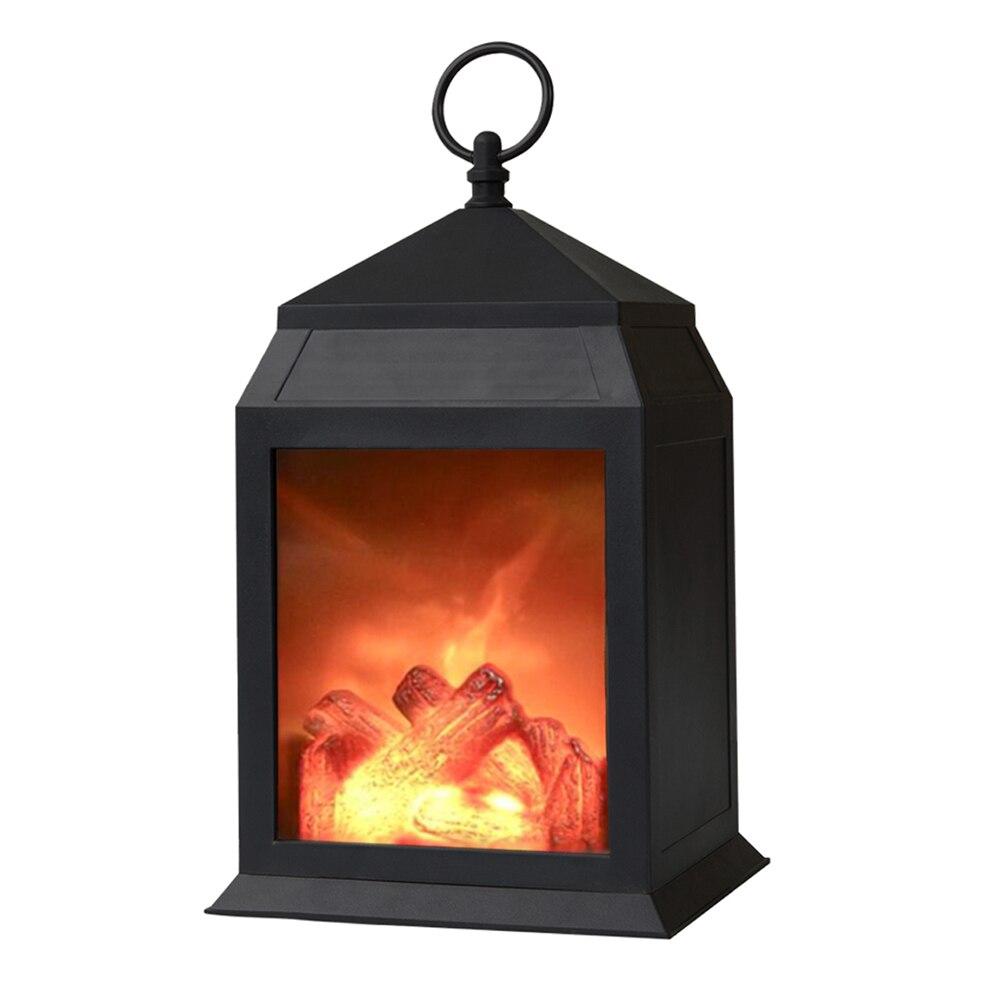 Home Decor Vintage Bedroom Simulation Desk Lamp Hanging Outdoor Living Room Lantern Fireplace Light Burning Effect LED Flame