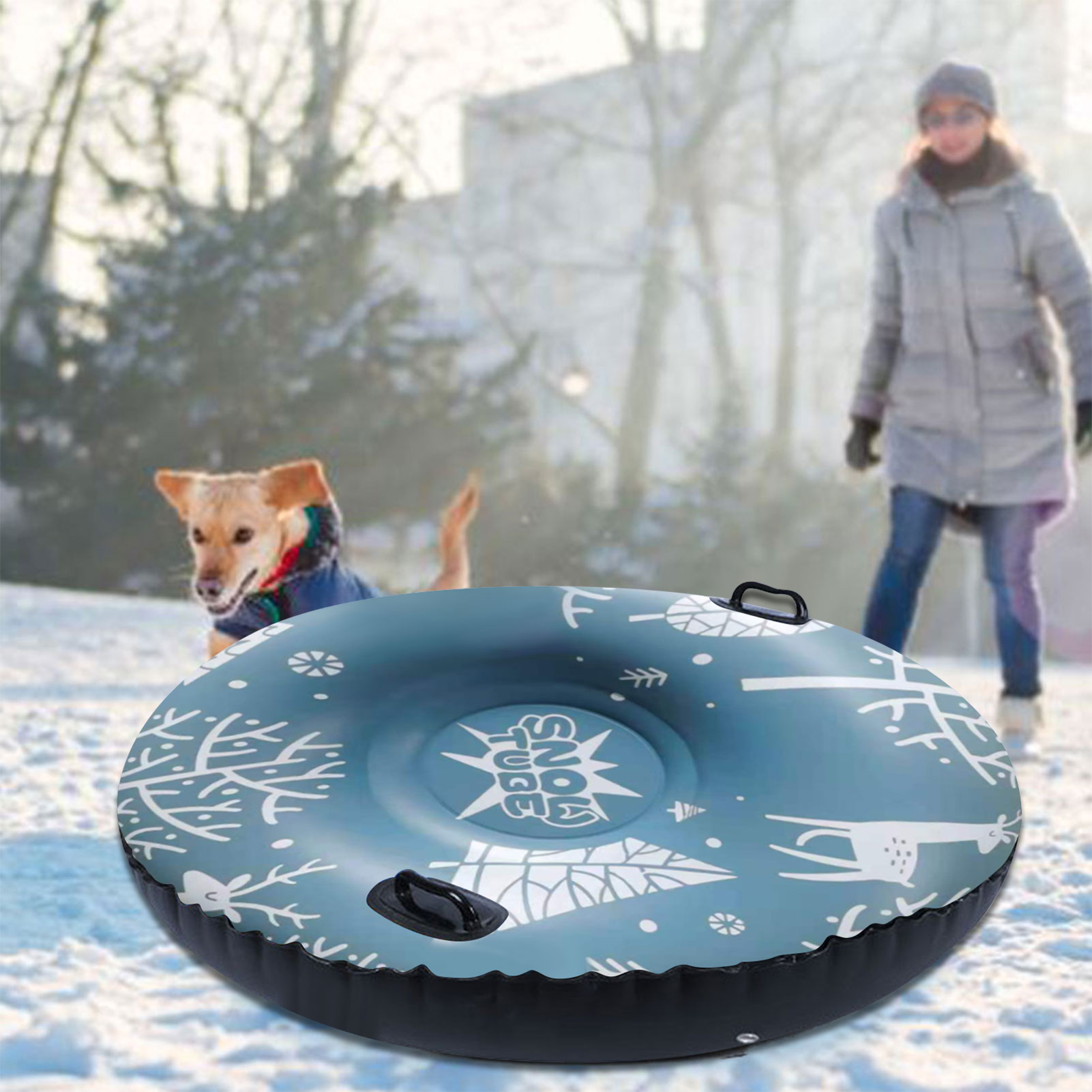 47 Inch Inflatable Snow Toy Winter Inflatable Ski Circle Ski Circle With Handle Durable Children Adult Snow Tube Skiing Thickene