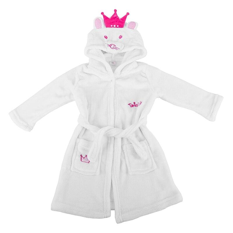 Мягкий теплый фланелевый банный халат с капюшоном для малышей, детей и малышей Детские пижамы, одежда для сна (2 года, белое животное)