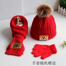 Two sets of autumn winter children wool wool hat scarf gloves boys and girls baby knitting warm baby jumper hat trend(China)