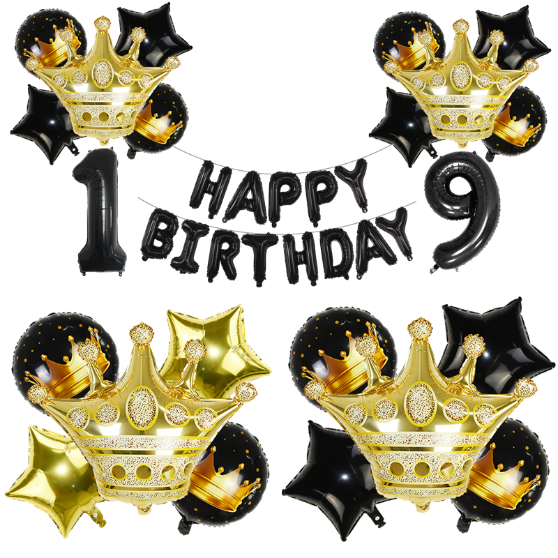 Black Gold <font><b>0</b></font> 1 2 <font><b>3</b></font> 4 5 6 7 8 9 Crown Number Foil Balloons Kid Adults Birthday Party Decor Supplies Inflatable Balloons Kids Toys image