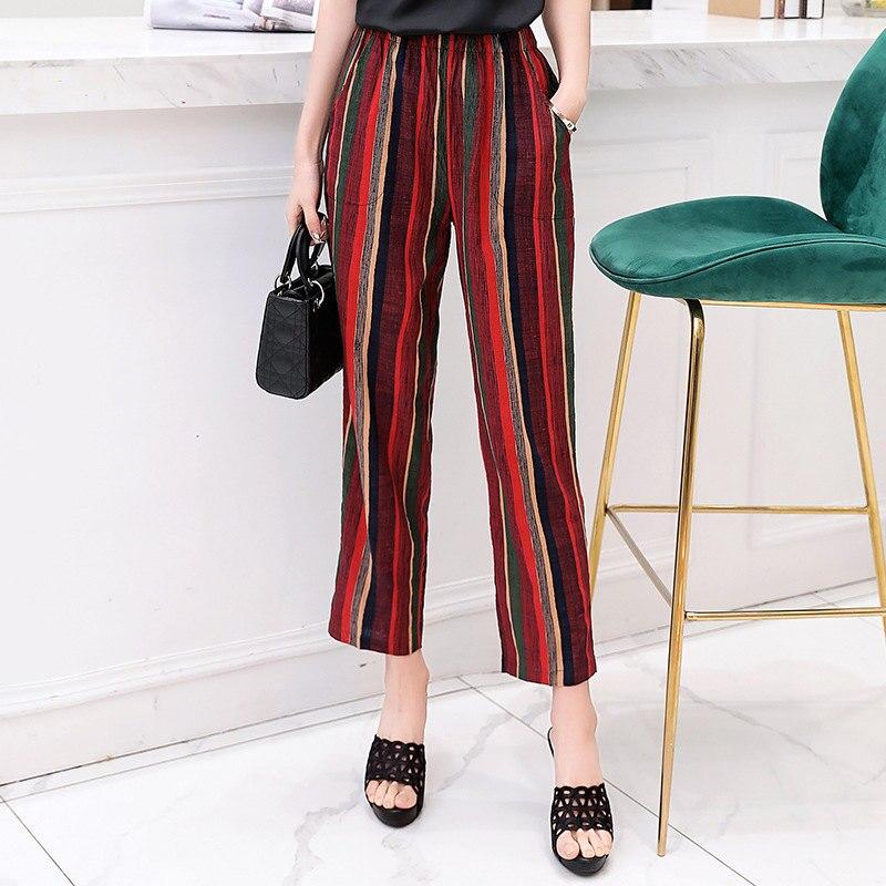 Casual Women Trousers 2019 Summer Ankle-Length Harem Pants Fashion Striped Print Cotton Linen Elastic Waist Pants Plus Size 5XL