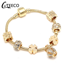CUTEECO DIY Bracelets  Jewelry Gifts Gold Chain Crown Charm Clover Beads Brand Bracelet&Bangle For Women Fashion
