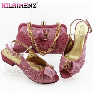 Image 4 - Zapatos de tacón cómodos para mujer africana y bolso que combinan con el estilo italiano en Color azul real, zapatos de noche y bolso a juego