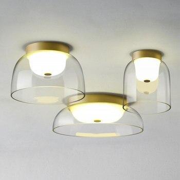 Modern Glass Bowl Ceiling Lamp Led Ceiling Lights Kitchen Living Room Bedroom Bathroom Nordic Hanging Light Fixtures Home Decor