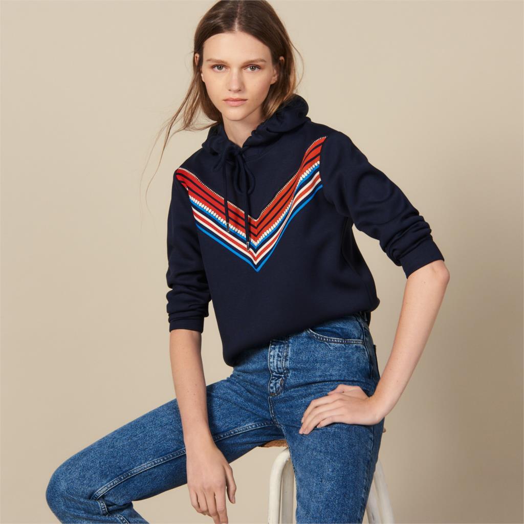 V-line striped hoodies