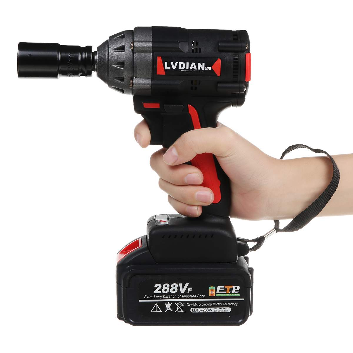 288VF 600N.M Cordless Brushless Impact Wrench Stepless Speed Change Switch Li-ion Battery Electric Wrench Power Tool Car Repair