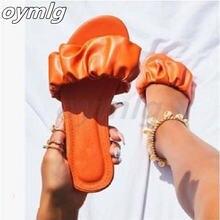 Шлепанцы женские кожаные домашняя обувь на плоской подошве сланцы