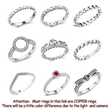 New Fashion Silver Color Copper Ring Love Heart Crown Finger Rings Clear CZ Stackable For Women Wedding Jewelry Gift Dropship
