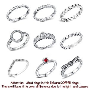 Silver Color Stackable Wedding Women Pandora Rings Jewelry