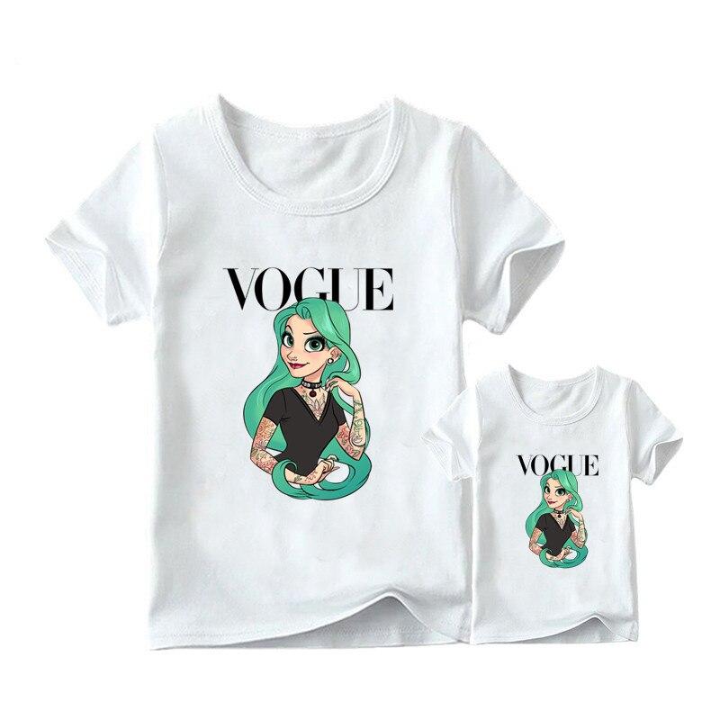 1 предмет, г. Летняя футболка с принтом принцессы в стиле панк модная одежда для мамы и дочки забавная семейная футболка с короткими рукавами - Цвет: 15