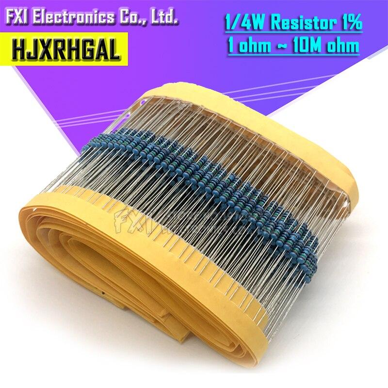 200pcs  1/4W 1R~22M 1% Metal Film Resistor 100R 220R 1K 1.5K 2.2K  4.7K 10K 22K 47K 100K 100 220 1K5 2K2  4K7 Ohm Resistance