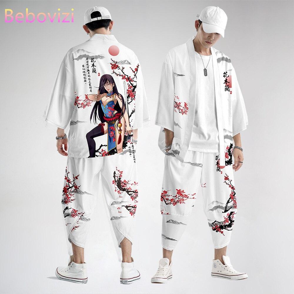 2021 белый комплект в китайском стиле Хуа Мулан, модное японское кимоно, пляжный кардиган Харадзюку для мужчин и женщин, хаори, азиатская одеж...
