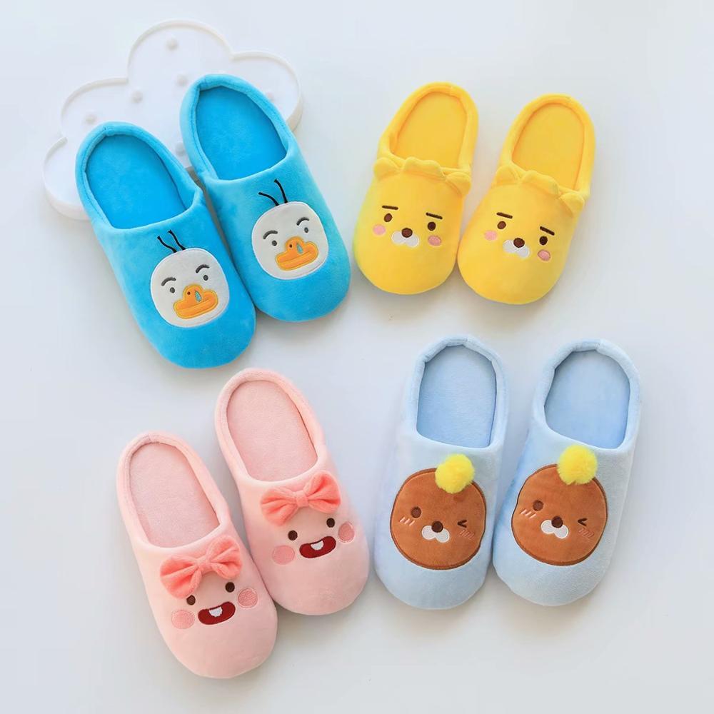 Kakao Slippers Women Winter Home Slippers Cartoon Non-slip Soft Winter Warm House Slippers Indoor Bedroom Lovers Couples Floor