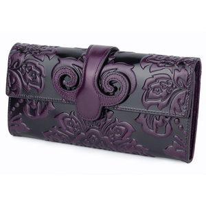 Image 5 - COMFORSKIN Premium Genuine Oil Waxing Leather Unique Embossed Floral Woman Purse Famous Brand Long Cover Style Womens Wallets