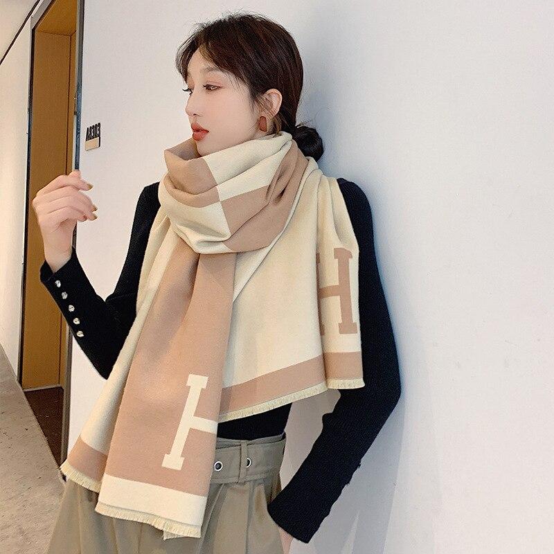 190*65cm New 2019 Autumn Winter Female Scarf Women Cashmere Scarves Wide Lattices Long Shawl Wrap Blanket Warm Tippet Wholesale
