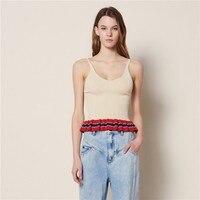 Summer Sexy V Neck Women Camis Tank Suspenders Sleeveless Backless Beach T shirt Striped Colors Mixed Ruffles Streetwear Top