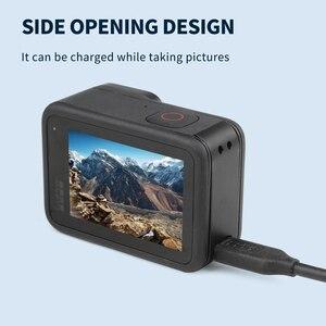 Image 3 - SHOOT غطاء جانبي قابل للإزالة لـ GoPro Hero 9 ، حامل واقي أسود ، منفذ شحن ، ملحقات كاميرا الحركة