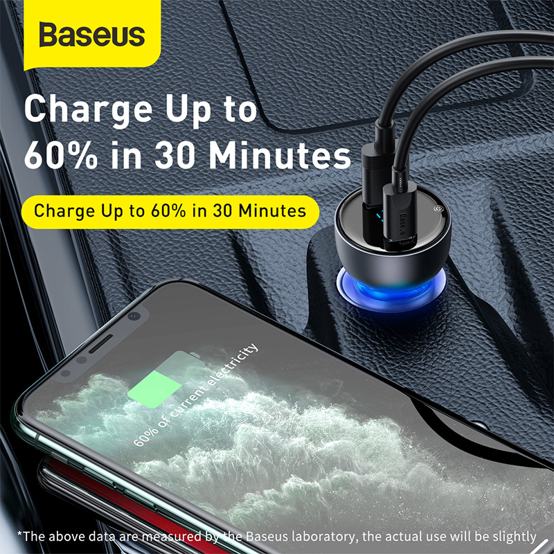 Baseus 65W Car Charger Dual USB Quick Charge 4.0 3.0 USB Car Charger for Huawei SCP QC4.0 QC3.0 Fast Charging Charger For iPhone 3