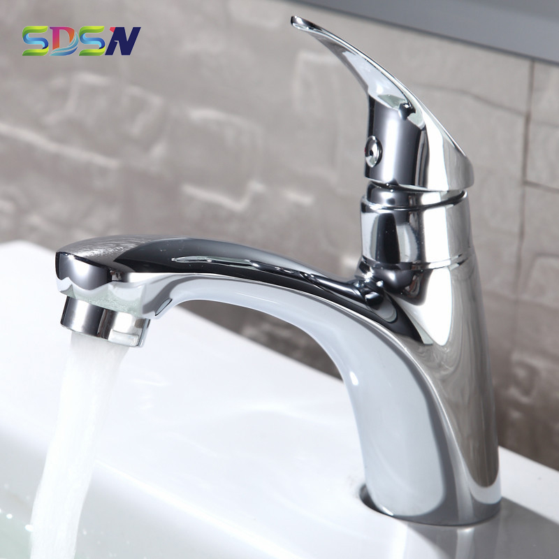 Single Cold Basin Faucet SDSN PVD Plating Cold Bathroom Faucet Quality Zinc Alloy Bathroom Basin Tap Chrome Cold Water Taps