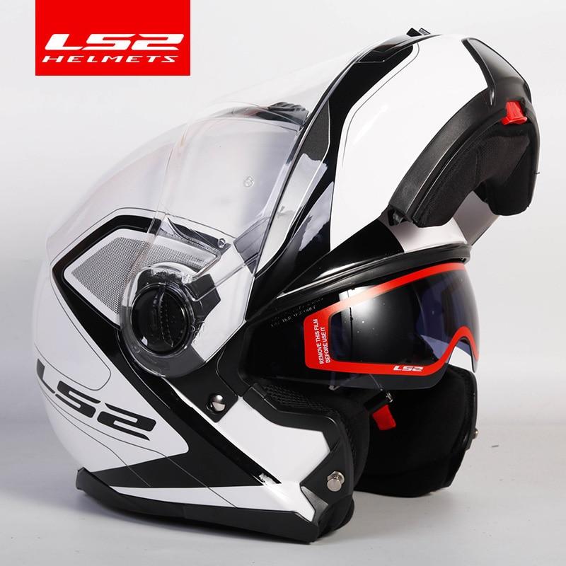 Original ls2 strobe flip up moto rcycle capacete ls2 ff325 lente dupla modular viseira casque moto dot aprovado
